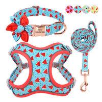 Reflektierend Hundegeschirr Leine mit Personalisiertes Hundehalsband Gravur Name