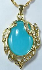 Charm Sky-blue Jade 18KGP Crystal Peafowl Women Lady Girl Pendant Chain Necklace