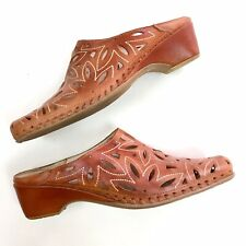 Pikolinos Women's 39 8.5 Leather Laser Cut Perforated Slip On Slide Mules Cognac