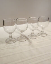 "Lot of 4 Vintage Clear Glass Wine/Water Glasses 5 3/4"" Tall Unbranded Free Ship"