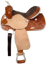 """16"""" Double T Medium Leather Floral Tooled Barrel Saddle Roughout Fenders SQHBars"""