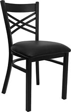 Lot of 10 Metal X Back Restaurant Chairs with Black Seat