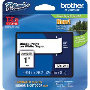 GENUINE NEW BROTHER TZE-251 Brother TZe Label Tape Cartridge TZE251 for PT-2700