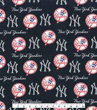 MLB NY YANKEES - GLITTER LOGO Baseball 100% Cotton Fabric 1/4 yd, 9