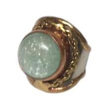 Welded Mixed Metal Cuff Ring, AVENTURINE Semiprecious Stone, One Size, by Anju