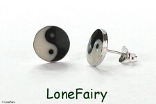 Solid 925 Sterling Silver Larger Style Yin Yang Round Stud Earrings 10mm