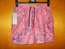 "M&S Quick Dry Elastic Waist 'Tropical' Swim Board Shorts M W33-35"" Pink Mix BNWT"