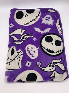 "Nightmare Before Christmas DISNEY Jack Northwest Plush Purple Blanket 52x40"" I4"