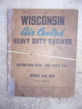 50s Wisconsin Heavy Duty Single Cylinder Engine Acn Bkn Manual 270A Parts List L
