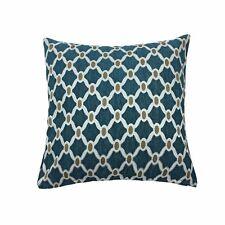 """MOROCCAN-STYLE CHAIN LINK TEAL CHENILLE WOVEN 22"""" - 55CM CUSHION COVER"""