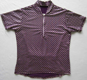 Women's Bike Jersey Short Sleeve Purple with Silver Shimmer dots NWOT Small