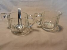 Clear Cut Glass Creamer & Sugar Set with Spoon, Ribbed Design with Handles