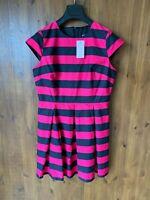 RRP £50 - A WEAR DRESS Navy Blue & Pink Striped Shift A-Line Summer UK 12 - NEW