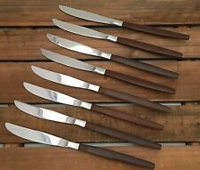 8 Ekco Eterna CANOE MUFFIN Forged Stainless Dinner Knives Brown Wood Handle MCM