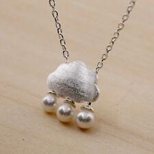 Matt 925 Sterling Silver Cloud Freshwater Pearls Raindrop Pendant Chain Necklac2