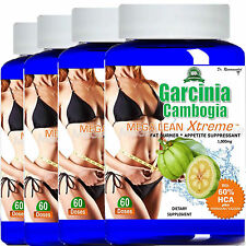 4 Garcinia Cambogia Extract 1000mg Pure 100% HCA Weight Loss Potassium Calcium