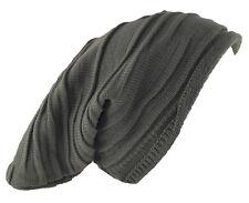 "D&Y Men's Long Beanie Stripe Textured Knit Hat 12"" Gray"