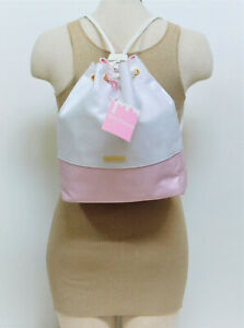 Juicy Couture Drawstring Pink and White Bucket Bag/Backpack