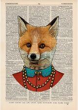 Fancy Fox Dictionnaire Art Print Animaux Vêtements anthropomorphe