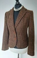 Ladies Zara Tweed check Boucle Thick Fitted Blazer Jacket Size UK Size 8/10
