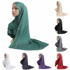 Rhinestone Decoration Hijab Long Scarf Muslim Malaysia Women Plain Turban Shawl