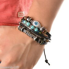 HX 1PC Ethnic Black Adjustable Leather Bracelet Evil Eye Feather Charm