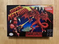 SUPER METROID Custom Game Box + Box Protector Only For Super SNES