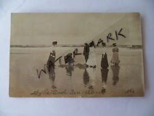 old antique vintage photo post card Edwardian dress women hats at beach NSW
