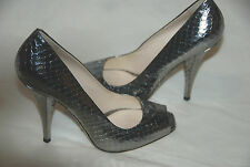 PRADA  SILVER METALLIC SNAKESKIN EMBOSSED PEEPTOE PUMPS LEATHER  SIZE 38.5