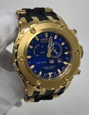 Invicta Reserve GMT Alarm Blue Dial Gold Tone Black Silicone Mens Watch 6212 SD9