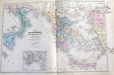 ANCIENNE GRAVURES CARTE LES PAYS HELLÉNIQUES 1857