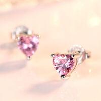 925 Sterling Silver Love Heart Zircon Stud Earrings Women Jewelry 4 Color