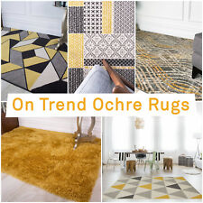 Sale Ochre Mustard Yellow Gold Bright Large Area Rug Rugs 120x170cm