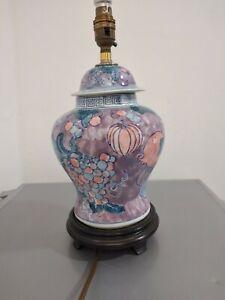 Vintage Stile Porcelain Table Lamp On Wooden Stand