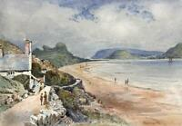 DEGANWY BAY FROM GREAT ORME HEAD TOWARDS CONWY WALES Painting 19TH CENTURY