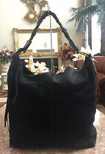 Lucky Brand X-Large Black Leather Suede Tassel Tote Hobo Woven Shoulder Bag  EUC