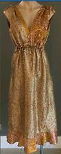 Pre-owned Pink & Gold YAZURA Empire Waist Silk Dress Size 12/14