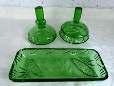 3 tlg. Frisiertisch Garnitur Toilettenset grün Kristall geschliffen