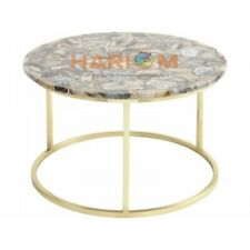"""30"""" Agate Round Side Coffee Table Top Precious Stone Home Decorative Gifts A033"""