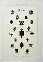 Fraternity Badges: 1903 Chromo-Lithograph by Julius Bien & Co. Antique Original