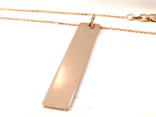 14k Rose Gold ID BAR Pendant with 18 inches Chain.(ITALIAN JEWELRY)