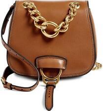 MIU MIU AW16 *CURRENT* Brandy DAHLIA Tan Brown Leather Shoulder Saddle Bag NEW