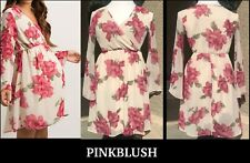 PINKBLUSH Ivory Floral Chiffon Wrap Maternity Dress Sz: S $57 *MADE IN THE USA*