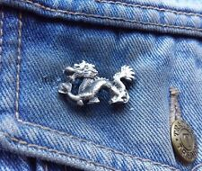 Oriental Wyrm Dragon Pewter Pin Badge