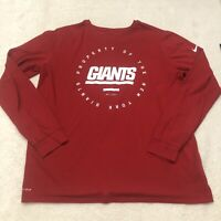 Nike New York Giants Shirt Adult Extra Large Red Men's Long Sleeve Dri Fit *