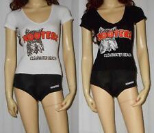 Womens HOOTERS UNIFORM ~ XS Black Shorts & 2 XXS V-Neck T-Shirt~Clearwater Beach