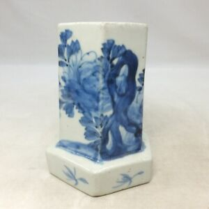 A868: Real Japanese OLD IMARI blue-and-white porcelain hexagon brush pot