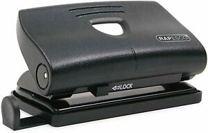 Rapesco 810 2-Hole Metal Punch with 12 Sheets Capacity - Black