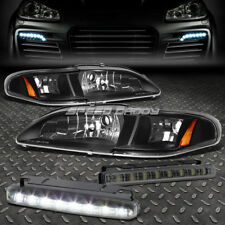 BLACK HOUSING CLEAR HEADLIGHT+CORNER+SMOKED LED FOG LIGHT FOR 94-98 FORD MUSTANG