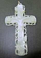 .STUNNING / VERY LARGE / SUPERBLY CARVED MOTHER OF PEARL CRUXIFIX + GOLD BAIL.
